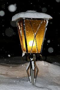 đèn lồng, ánh sáng, tuyết rơi, tuyết, mùa đông, tối, lạnh - nhiệt độ