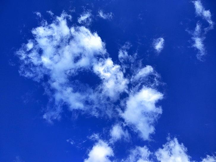 cel, núvol, cel de núvols, blau, núvols del cel, núvols del cel blau