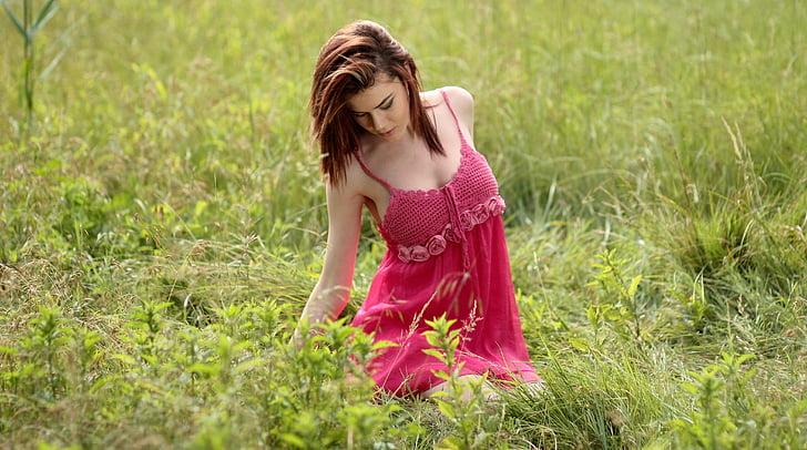 dekle, obleka, roza, lepota, narave, ženske, poletje