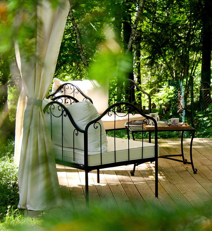 следобеден чай, Градина, релакс, сенчести, течен, лято, на открито
