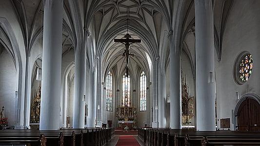 nau, altar, Catòlica, Creu, casa de culte, columnar, lloc de culte
