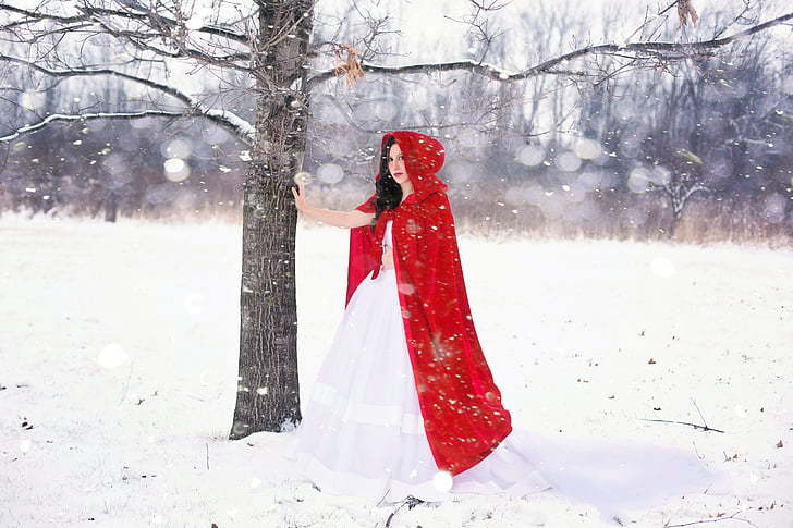 woman, pretty, happy, girl, winter, snow, white