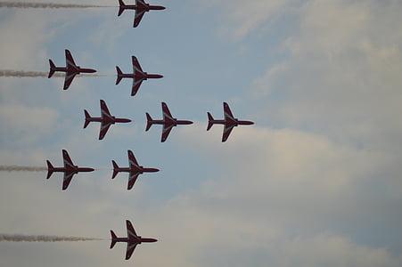piros nyilak, füst pályák, Jet, sebesség, kijelző, légi jármű, repülőgép