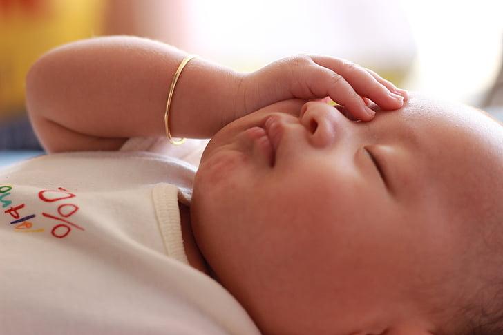 nadó, dormint, nen, nen, nadó, valent
