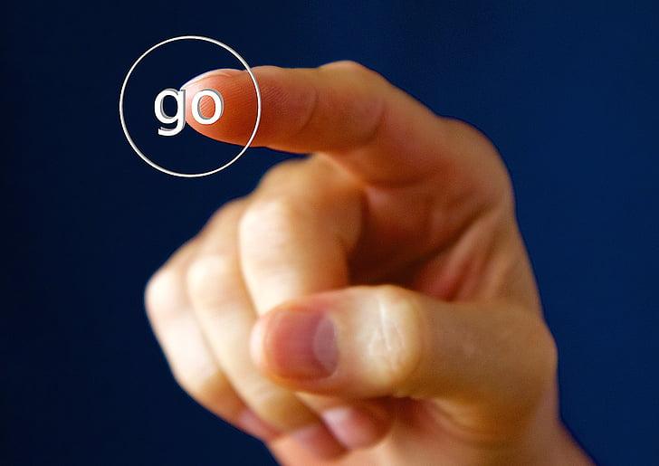 mà, dit, botó, interruptor, Inici, los, mà humana