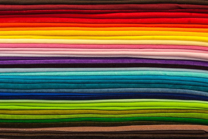 текстилни, цвят, цветни, плат, текстура, дъга, цвят диаграма