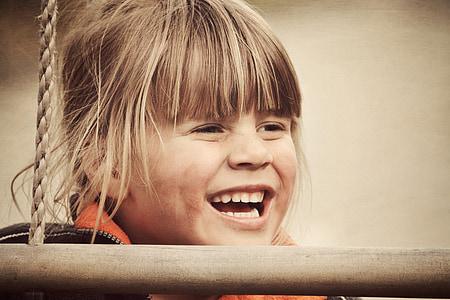 nen, noia, cara, Ros, riure, aspecte retro, fotos antigues i degradades