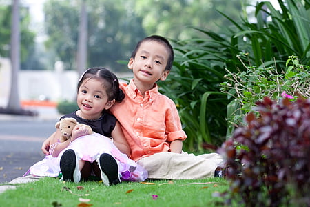 kids, children, portrait, asian, child, two people, childhood