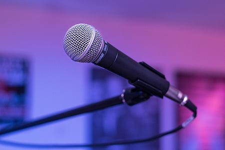 mikrofon, élő zene, zenekar, zene, szakasz, Stage - performance helyet, beszéd
