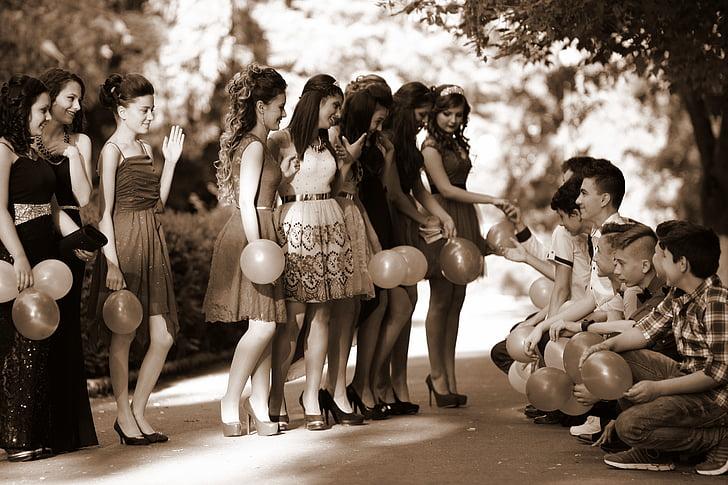 mladí lidé, studenti, promoce, přátel, vzpomínky, Skupina, lidé