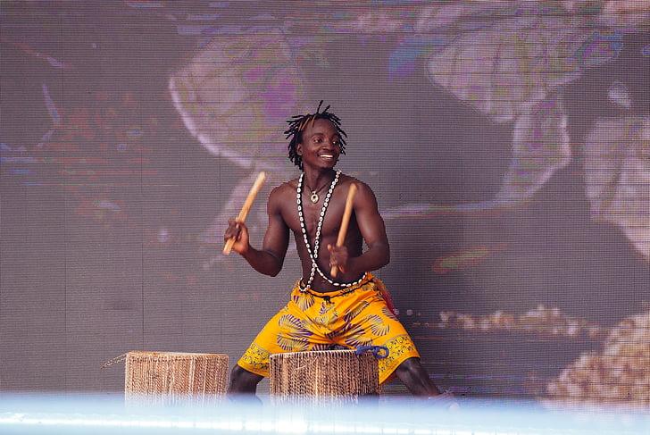trumm, võimsus, Aafrika mees, muusika, naised, tantsimine, tantsija