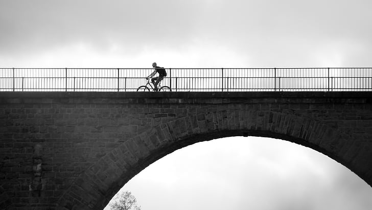 велосипед, велосипедисты, больше, на велосипеде, мост, цикл, Тур