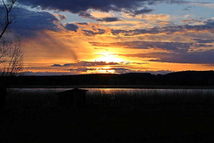 일몰, 호수, abendstimmung, 자연, 구름, 바다 경치, 뤼겐