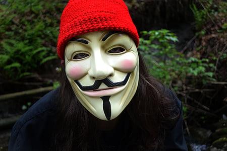 cara, màscara, v de vendetta, Anònim, tapa vermella