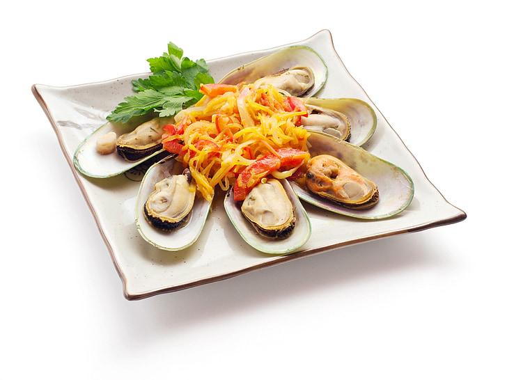 japonès, aliments, sopar, àpat, gurmet, marisc, vaixella