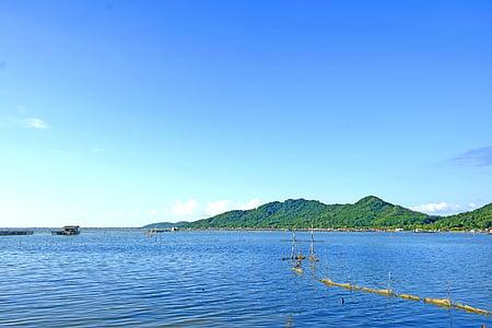 Asia, Asia, azul, mar azul, cielo azul, barco, claro