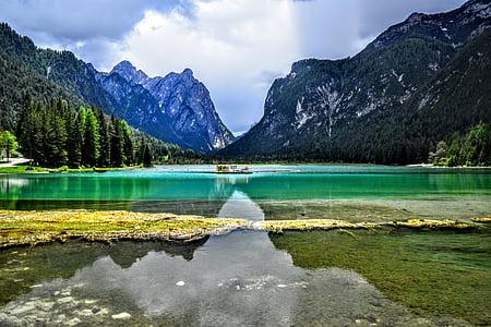 See-Toblach, Hintergrund, Landschaft, Berge, Berg, Entspannung, Natur