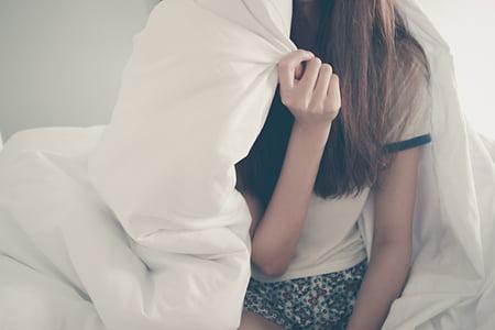 bed, blanket, female, girl, hair, hand, hiding