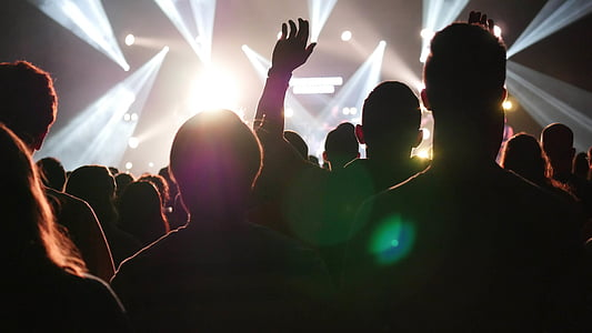 crowd, front, spotlights, music, show, audience, concert