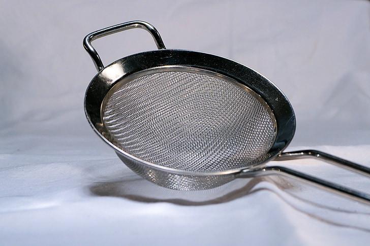 garbell, farina, metall, set, menjar, preparar, cuina