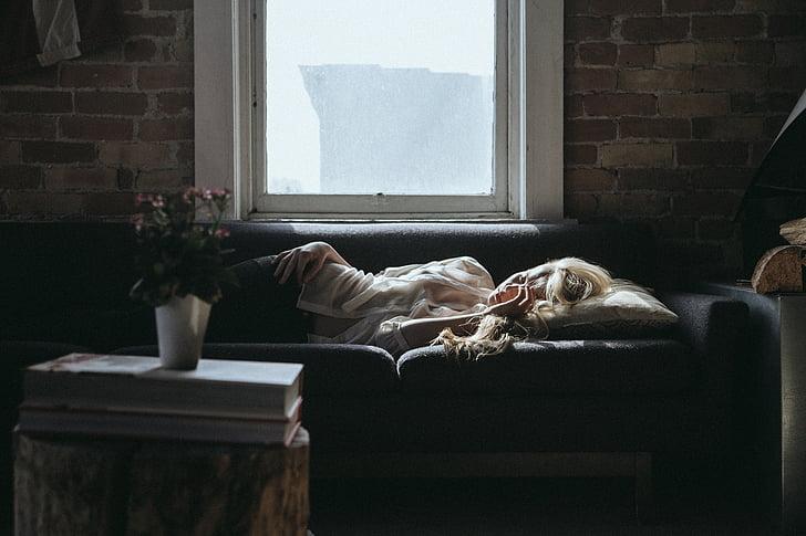 wanita, tidur, sofa, rumah, santai, istirahat, interior
