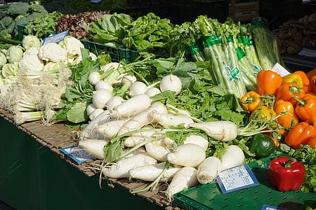 マーク, 市場の新鮮な野菜, 野菜, パプリカ, ネギ, 大根, ビートを可能性があります。