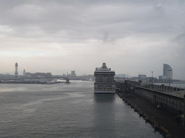 hamn, Barcelona, vatten, staden, havet, fartyg, Medelhavet