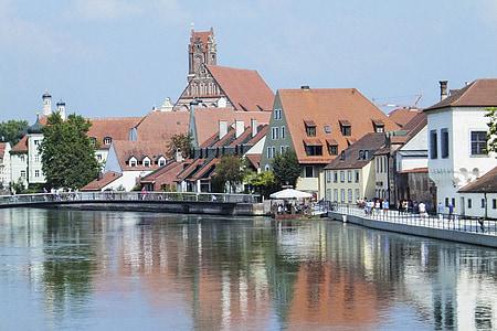 Landshut, Isar passeig, Isar, riu, Banc, l'aigua, l'església