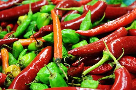 čili, šarene, oštar, mahuna, povrća, hrana, Crveni