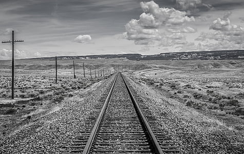 black and white, utah, train tracks, railroad track, rail transportation, transportation, the way forward