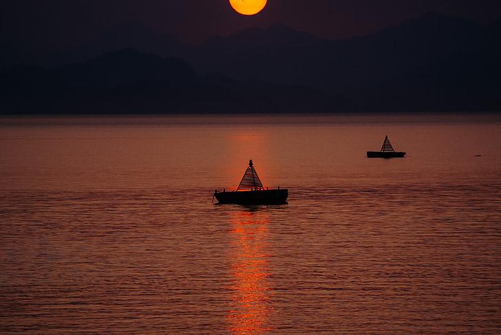 båt, båtar, floden, sjön, Seaside, solnedgång