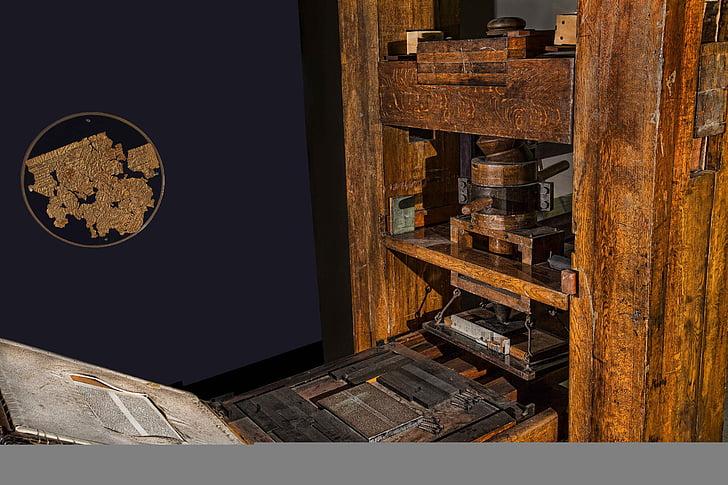 premsa, Gutenberg, impremta, document, imprimir, impressió, tinta