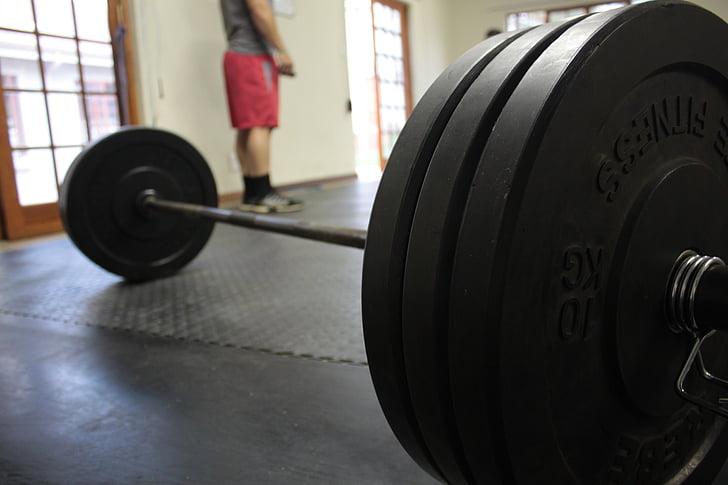 trenažieru zāle, stienis, apmācības, uzdevums, fitnesa, svars pacelšanas, svars