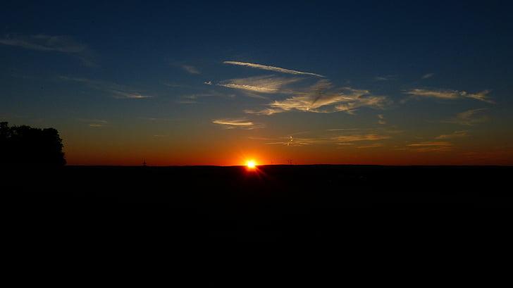 puesta de sol, cielo, nubes, sol, bola de fuego, sonnenkugel, resplandor