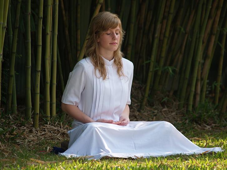 Meditácia, žena, budhistické, meditovať, Wat, Phra dhammakaya, chrám