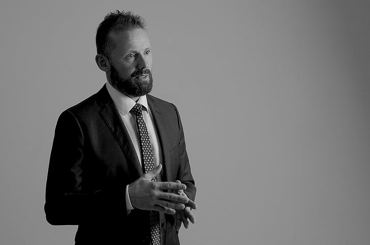 lecturer, portrait, man, beard, black and white, one man only, one person