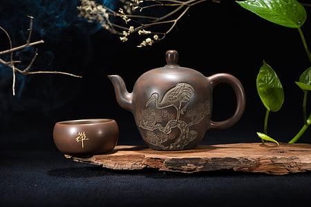 čajový set, konvice na čaj, Zátiší, čajový obřad, porcelán, uvnitř, tabulka