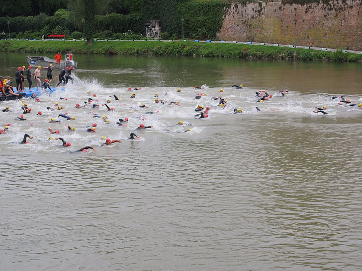 competition, start, swim, track and field athletes, athletes, triathlon, danube