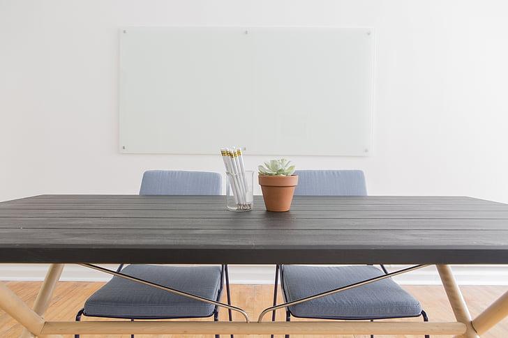 cadires, buit, planta, planta, taules, cadira, taula