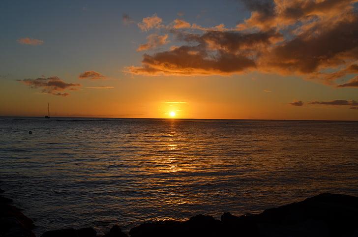 zonsondergang, Hawaii, Hawaii strand, Oceaan, strand, reizen, strand zonsondergang