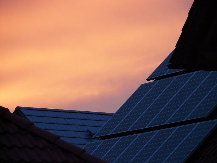 päikesepatareid, Avaleht, katuse, Sunset, Afterglow, tehnoloogia, päikeseenergia