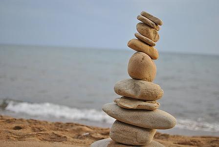 Pierre, plage, nature, pierres zen, fond de Zen, Pierre fond, Zen