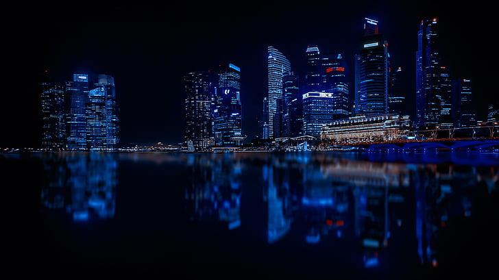 Singapur, nebodera, grad, moderan grad, arhitektura, odraz, vode