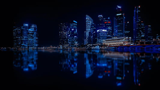 singapore, skyscrapers, city, modern city, architecture, reflection, water