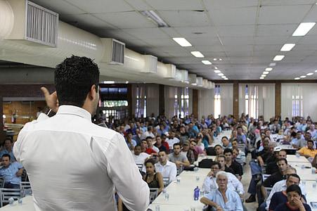 Conferència, Presentació, esdeveniment, persones, homes, l'interior