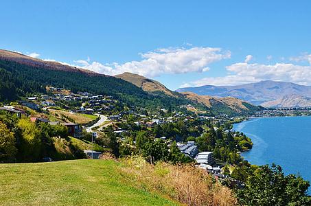 Lake, küla, maastik, vee, mägi, loodus, Uus-Meremaa