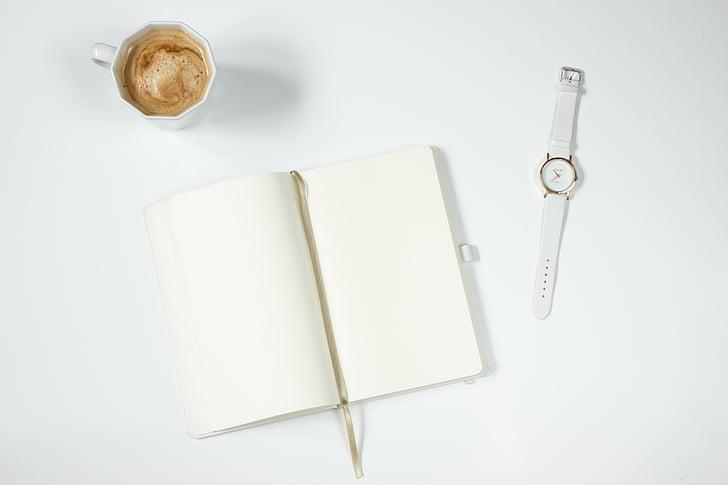 café, Notebook, reloj, mesa de trabajo, taza, libro, papel