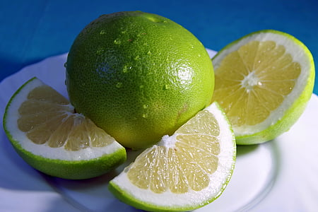 葡萄柚, 水果, 柑橘, 绿色, 的苦, 甜, 切片