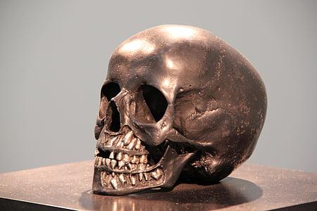 skull, bronze, head, statue, horror, metal, brass