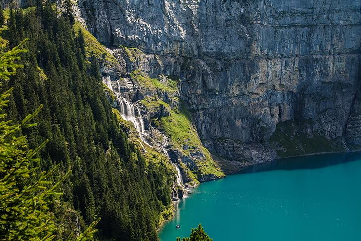 modo de exibição, bergsee, Cachoeira, montanhas, Lago oeschinen, caminhadas, Seascape